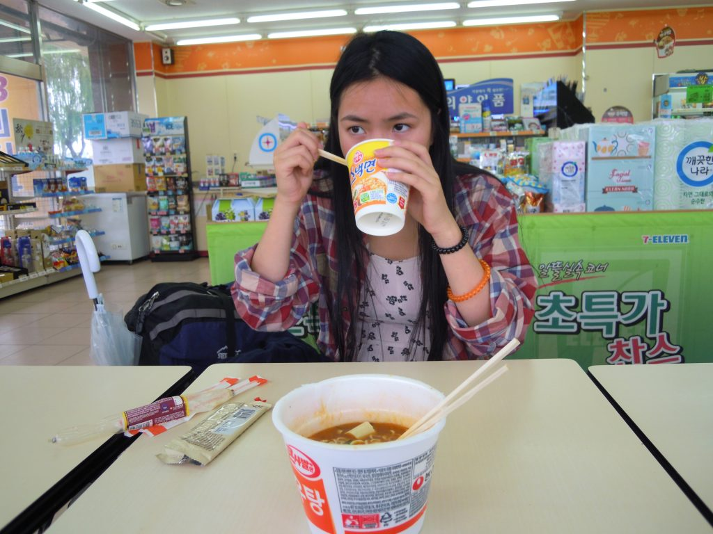 Eating instant noodles