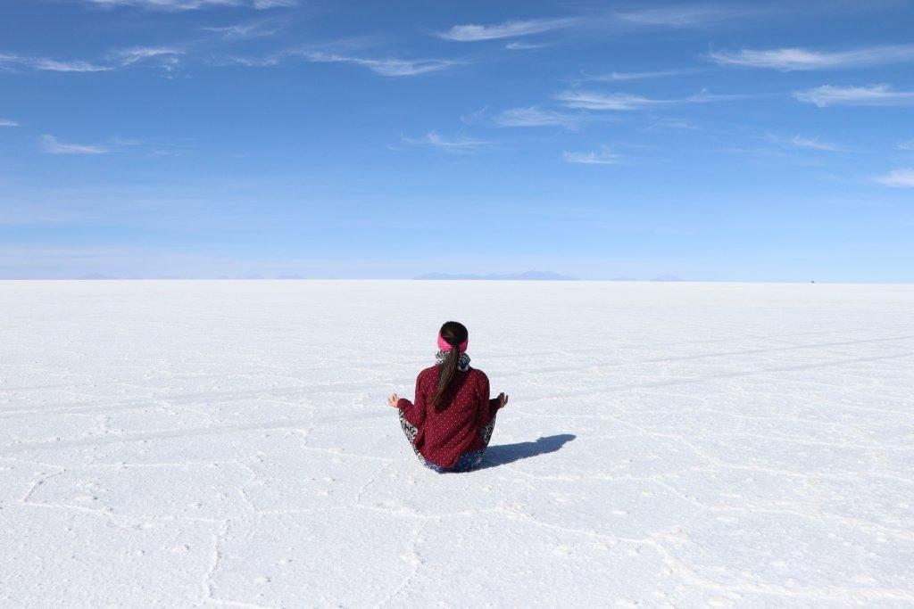 Meditating in Salar de Uyuni