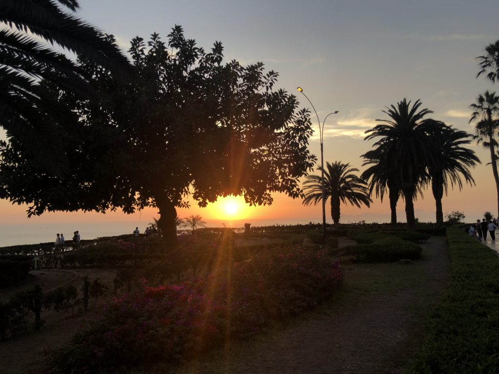 Watching sunset in Lima