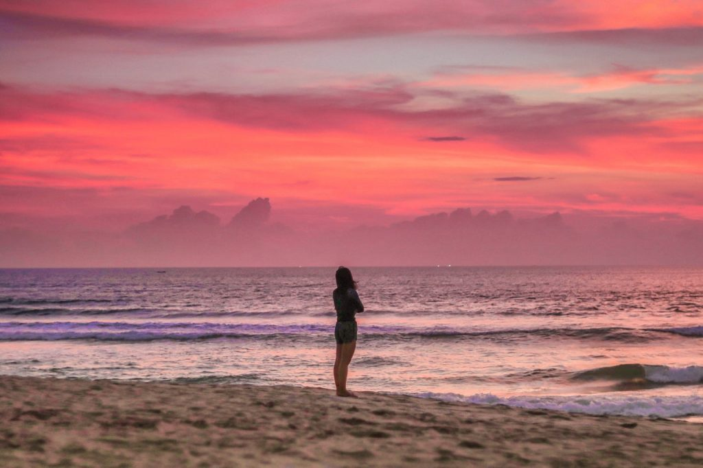 pink sunset in bali